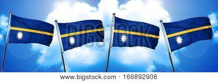 Nauru flag, 3D rendering, on cloud background