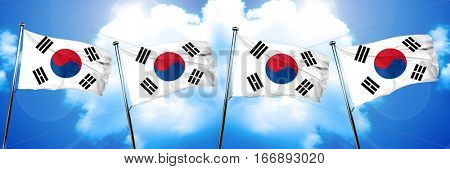 South korea flag, 3D rendering, on cloud background