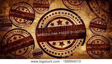 Barcellona pozzo di gotto, vintage stamp on paper background