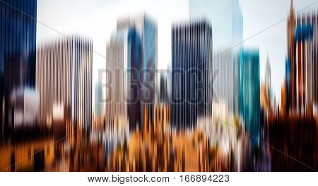 Abstract Blurred Image Of The Manhattan