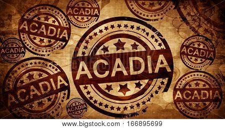 Acadia, vintage stamp on paper background