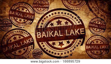Baikal lake, vintage stamp on paper background