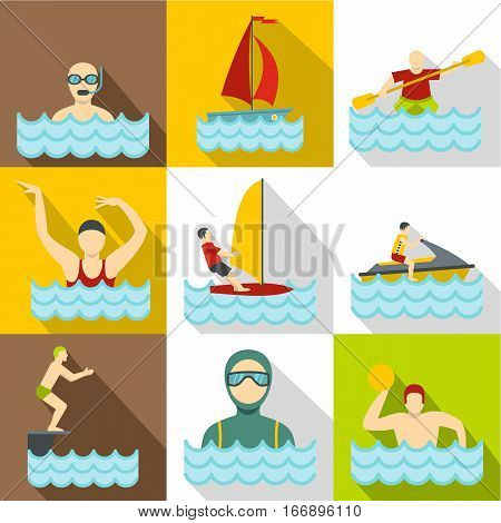 Water sport icons set. Flat illustration of 9 water sport vector icons for web