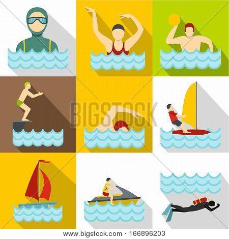 Swimming on water icons set. Flat illustration of 9 swimming on water vector icons for web
