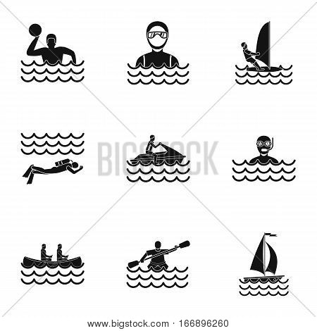 Water sport icons set. Simple illustration of 9 water sport vector icons for web