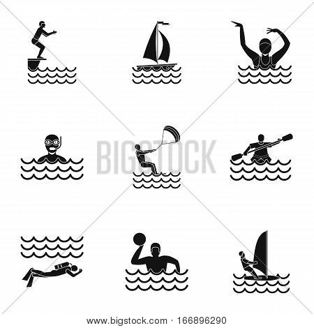 Water stay icons set. Simple illustration of 9 water stay vector icons for web
