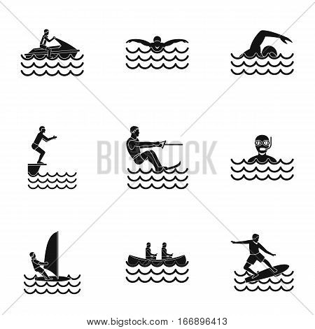 Water exercise icons set. Simple illustration of 9 water exercise vector icons for web