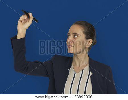 Caucasian Woman Teaching Presenting