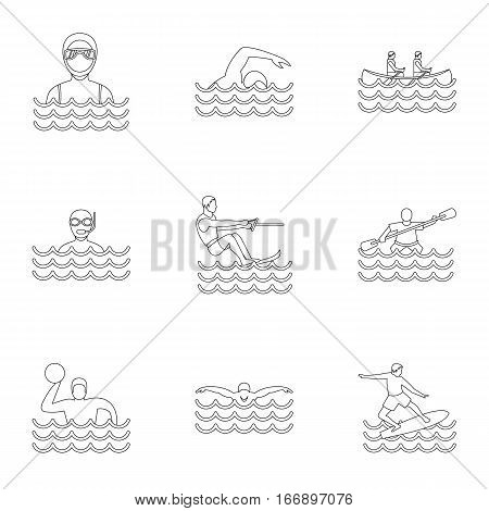 Water stay icons set. Outline illustration of 9 water stay vector icons for web
