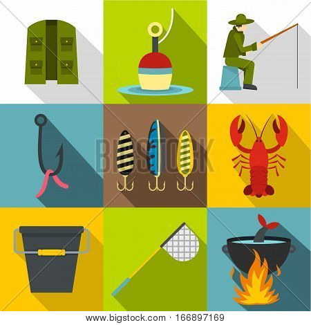 Fishing icons set. Flat illustration of 9 fishing vector icons for web