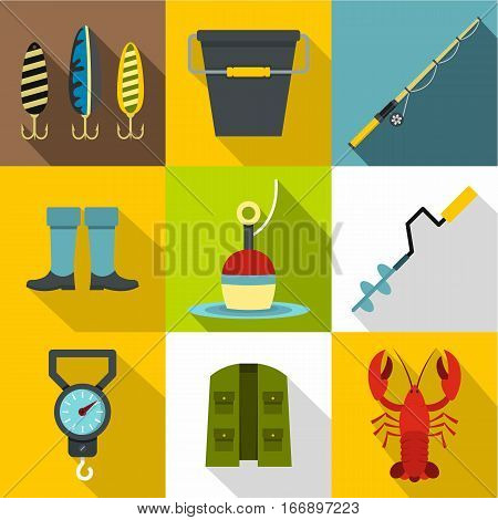 Catch fish icons set. Flat illustration of 9 catch fish vector icons for web