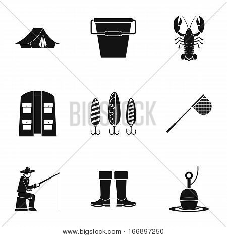 Fishing icons set. Simple illustration of 9 fishing vector icons for web
