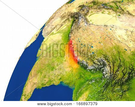 Country Of Nepal Satellite View