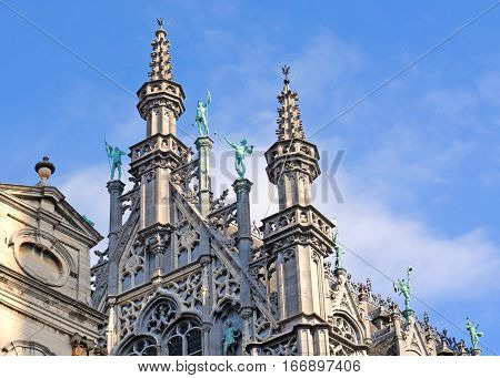 Detail of Broodhuis museum on Market Place or Grote Markt in Brussels Europe