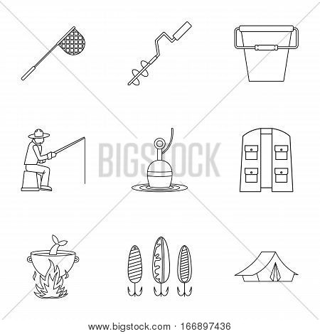 Hunting for fish icons set. Outline illustration of 9 hunting for fish vector icons for web