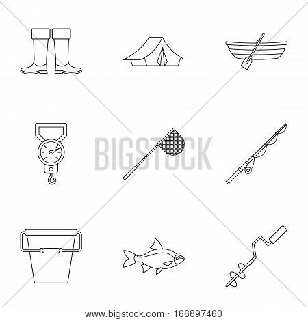 Catch fish icons set. Outline illustration of 9 catch fish vector icons for web