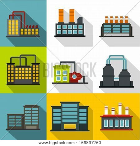 Industrial complex icons set. Flat illustration of 9 industrial complex vector icons for web