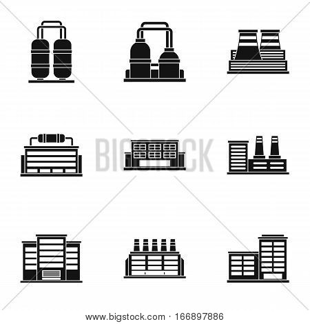 Industrial complex icons set. Simple illustration of 9 industrial complex vector icons for web
