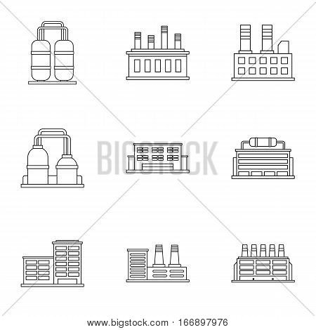 Industrial complex icons set. Outline illustration of 9 industrial complex vector icons for web