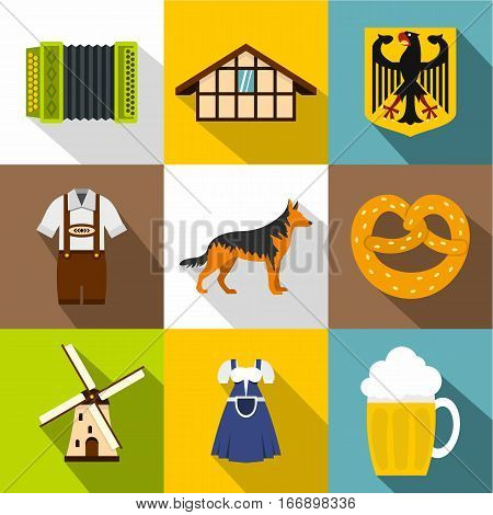 Country Germany icons set. Flat illustration of 9 country Germany vector icons for web