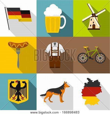 Tourism in Germany icons set. Flat illustration of 9 tourism in Germany vector icons for web