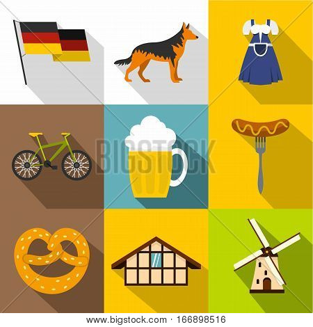 Travel to Germany icons set. Flat illustration of 9 travel to Germany vector icons for web