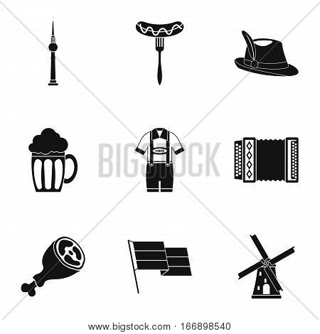 Germany icons set. Simple illustration of 9 Germany vector icons for web
