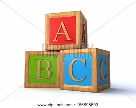 abc alphabet cubes on the white background (3d render)