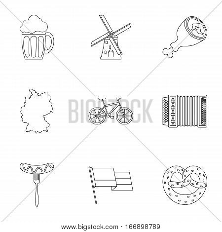 Republic of Germany icons set. Outline illustration of 9 republic of Germany vector icons for web