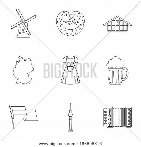 Tourism in Germany icons set. Outline illustration of 9 tourism in Germany vector icons for web