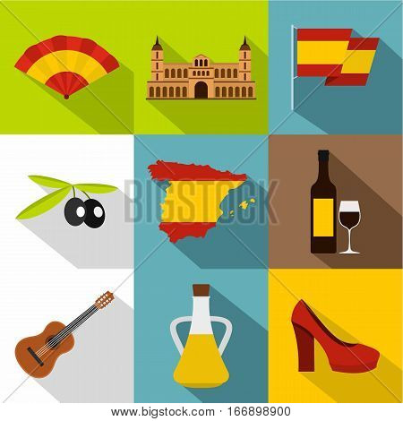 European Spain icons set. Flat illustration of 9 european Spain vector icons for web