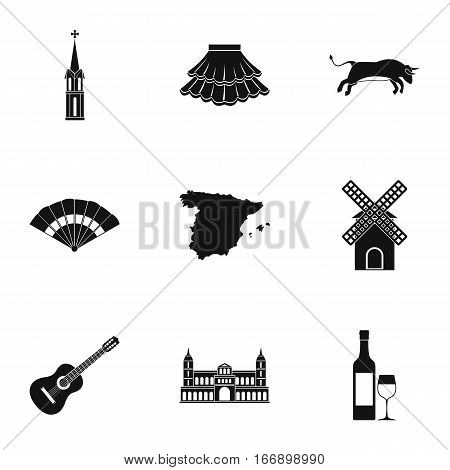 Spain icons set. Simple illustration of 9 Spain vector icons for web