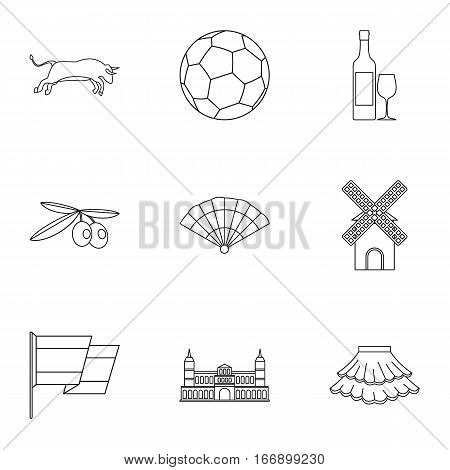 Tourism in Spain icons set. Outline illustration of 9 tourism in Spain vector icons for web