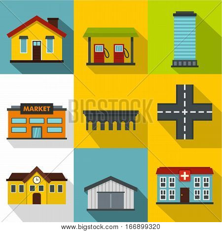 Public building icons set. Flat illustration of 9 public building vector icons for web