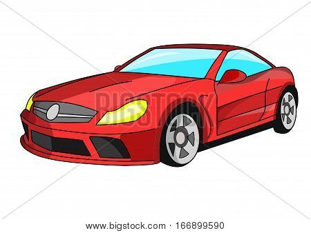 The red racing car on a white background.