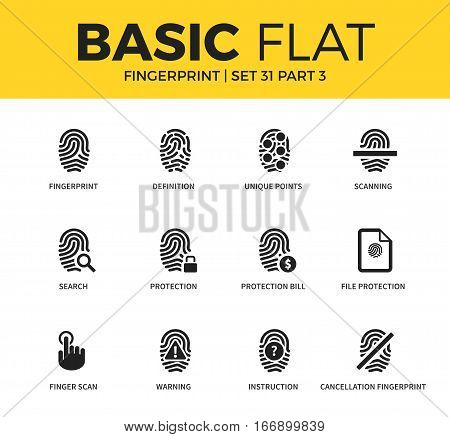 Basic set of file protection form, unique points form and finger scan fingerprint icons. Modern flat pictogram collection. Vector material design concept, web symbols and logo concept.