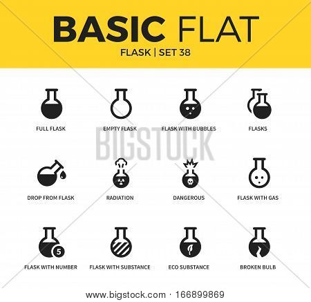 Basic set of empty flask, radiation and broken bulb icons. Modern flat pictogram collection. Vector material design concept, web symbols and logo concept.
