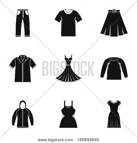 Kind of clothing icons set. Simple illustration of 9 kind of clothing vector icons for web
