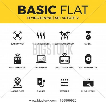 Basic set of wireless remote, landing place and repair kit icons. Modern flat pictogram collection. Vector material design concept, web symbols and logo concept.