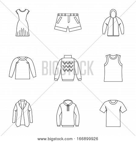 Underwear icons set. Outline illustration of 9 underwear vector icons for web