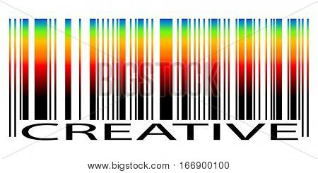 Bar Code with colored gradient and text Creative isolated on white background. illustration.