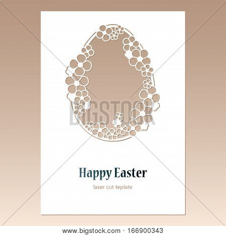 Card with openwork Easter egg with flowers and space for text. Laser cutting template for greeting cards envelopes invitations decorative elements.