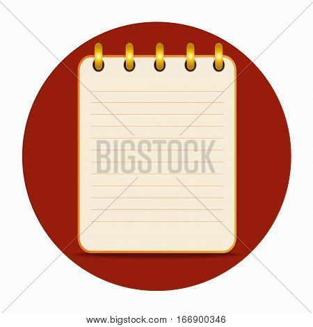 Yellow tear-off notepad on the rings with lines. Blank sheet on red background. School business diary. Template can be used for any design, on web sites. Vector icon in flat style. Square. Isolated.