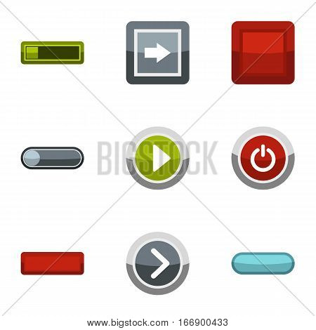 Kind of buttons icons set. Flat illustration of 9 kind of buttons vector icons for web