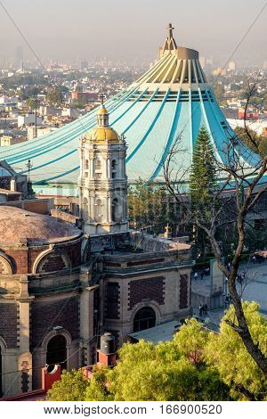 View of the Basilica of Our Lady of Guadalupe from the Tepeyac Hill in Mexico City