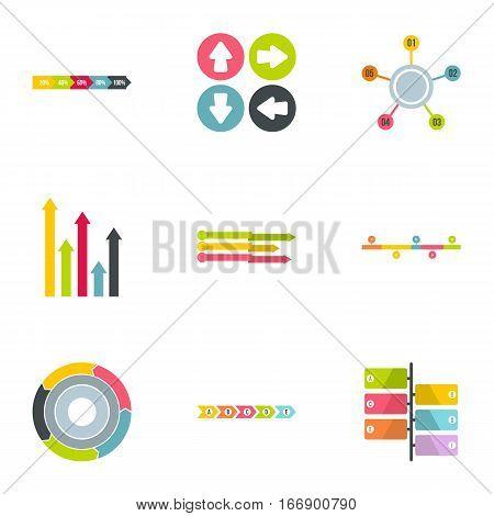Analytics icons set. Flat illustration of 9 analytics vector icons for web