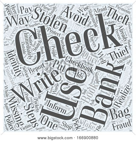 identity theft stolen checks Word Cloud Concept
