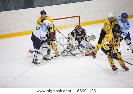 Moscow, Russia - January, 08, 2017: Amateur hockey league LHL-77. Game between hockey team