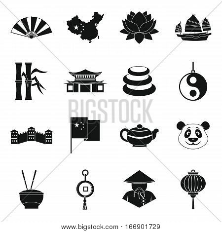 China travel symbols icons set. Simple illustration of 16 China travel symbols vector icons for web