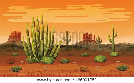 A high quality horizontal background of landscape with desert and cactus. Sunset on a background of a mountain landscape. Vector game graphic.